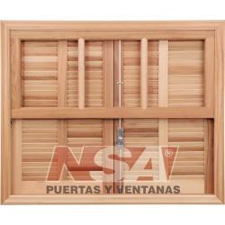 Ventana Guillotina de madera grandis Con Celosias De Abrir De 100x100 Mod 540